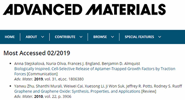 Most Viewed Article in Advanced Materials